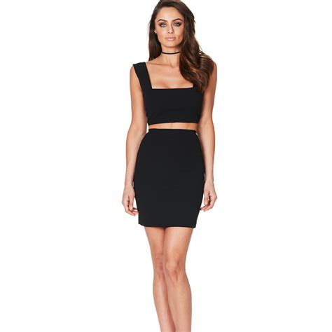 Minidress Top Belina womens bodycon cocktail crop top skirt two set summer mini dress ebay