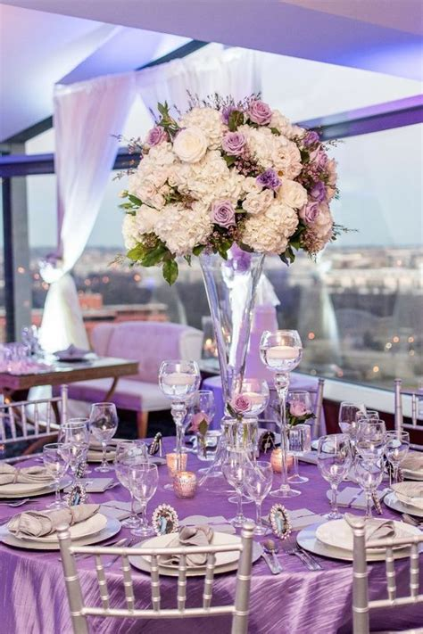purple white and silver table decor purple plum weddings in 2019 purple silver wedding