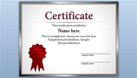 Certification Template Ppt