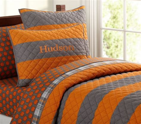 Orange And Gray Bedding rugby stripe quilt bedding by
