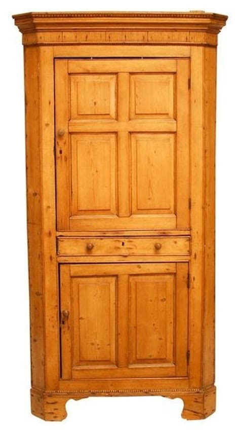 Country Kitchen Pantry Cabinet Rustic Country Pine Corner Cupboard Cabinet