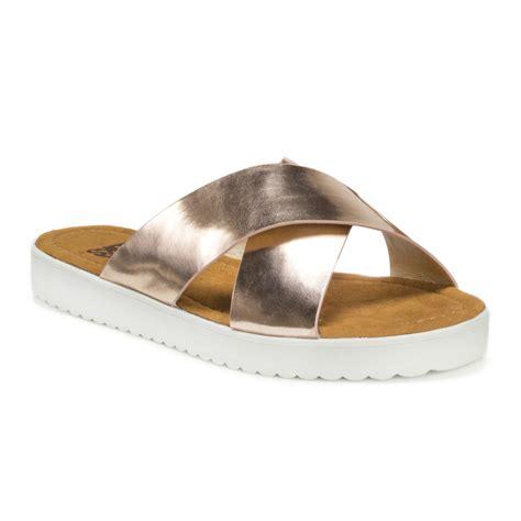 slide sandals gold metallic criss cross flatform slide sandal