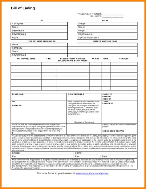 bill of lading template bill of lading form template
