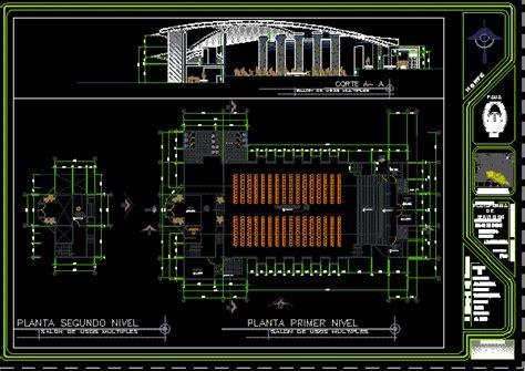 multipurpose hall  autocad cad   mb