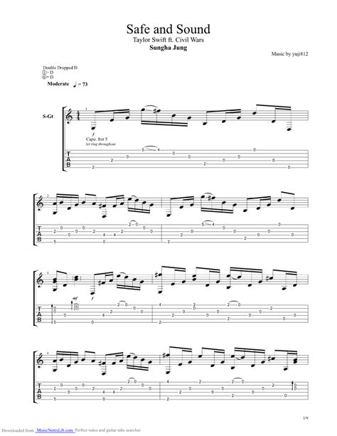 tutorial guitar safe and sound safe and sound guitar pro tab by sungha jung