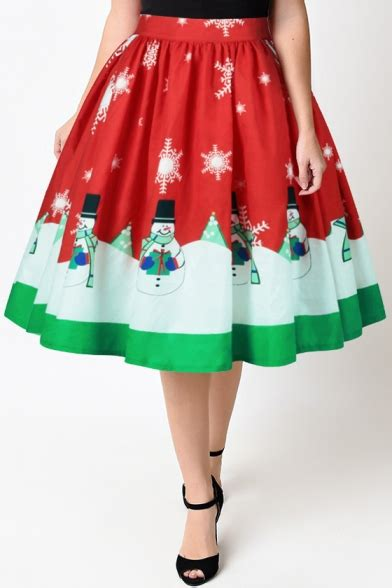 high waist christmas snowman pattern midi a line flared