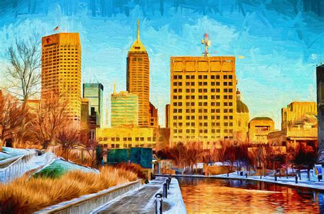 painting indiana indianapolis skyline canal view digital painting
