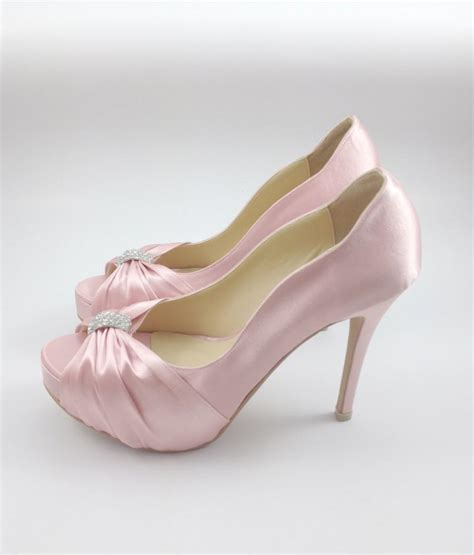 Blush Pink Bridal Shoes by Sweet Pink Wedding Shoes With Rhinestones Pastel Pink