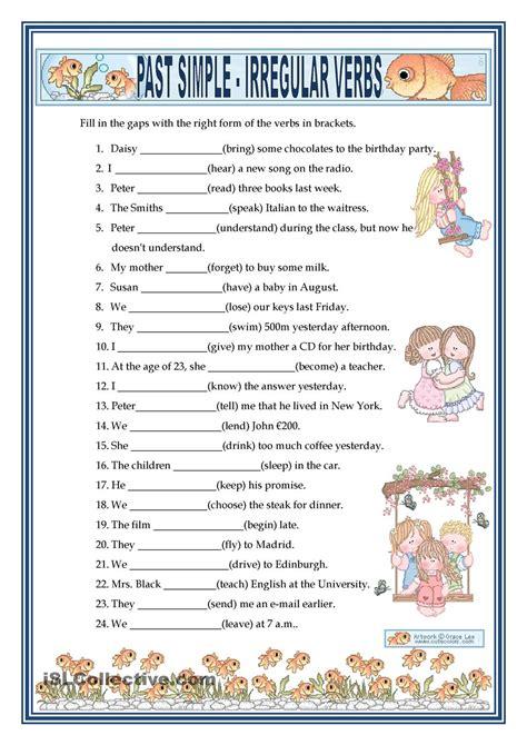 past simple irregular verbs free esl worksheets
