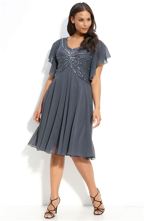 grey beaded dress j kara beaded dress plus in gray grey multi lyst