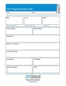 1 Year Business Plan Template One Page Business Plan Joey Gedgaud