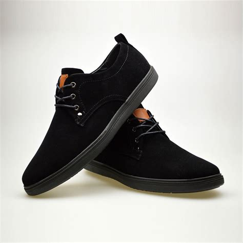 mens new fashion black suede lace up smart casual shoes uk