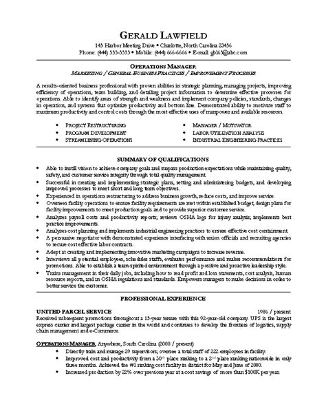 Manager Resume Format by Resume Sle 5 Operations Manager Resume Career Resumes