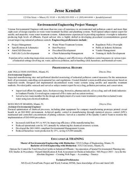 Resume Exles For Environmental Environmental Engineer Resume Sle