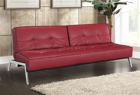 Red Bonded Leather Modern Convertible Sofa Bed W Chrome Legs Leather Convertible Sofa Bed