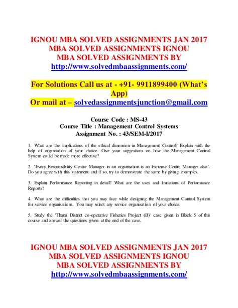 Iibf Ignou Mba 2017 by Ignou Mba Solved Assignments 2017