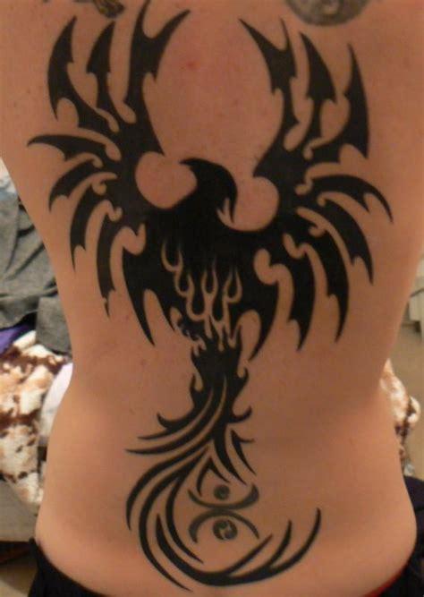 tattoo phoenix tribal huge tribal phoenix tattoo on back body tattooshunt com