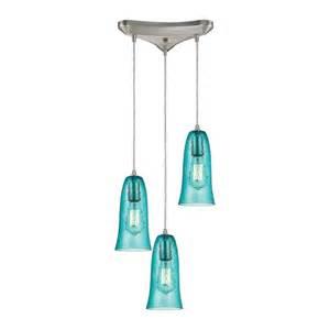 Aqua Pendant Light Hammered Glass Satin Nickel Three Light Pendant With Hammered Aqua Glass Elk Lighting Mult