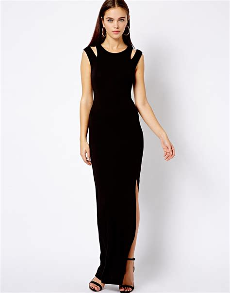 Dress Ketat Cut Shoulder lyst asos new look cut out shoulder maxi dress in black