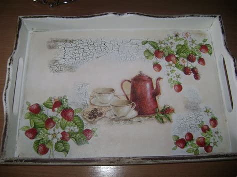 Decoupage Tray Ideas - tray decorated with napkins decoupage with napkins