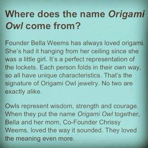Origami Owl Consultants - where does the name origami owl come from http