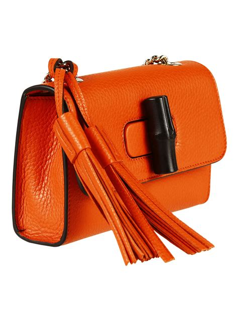 Gucci Ns Leather Orange gucci miss bamboo small leather shoulder bag in orange lyst
