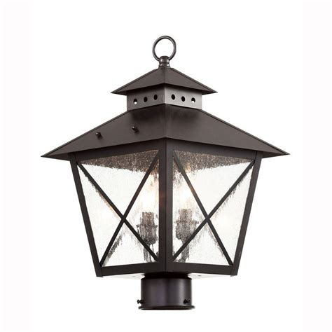 Farmhouse Outdoor Light Bel Air Lighting Farmhouse 2 Light Outdoor Black Post Top Lantern With Seeded Glass 40173 Bk