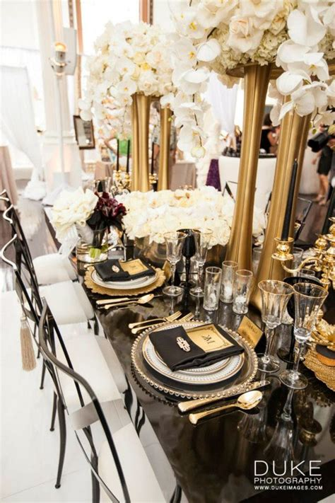 the great gatsby wedding inspiration bridal style gatsby wedding gold vases and