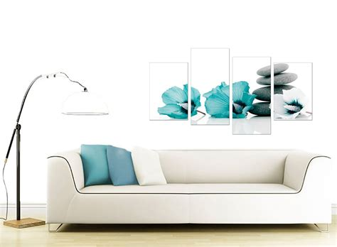 canvas artwork for living room canvas wall of flowers in teal for your living room