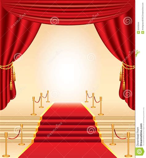carpet and drapes red carpet golden stanchions stairs and curtains stock