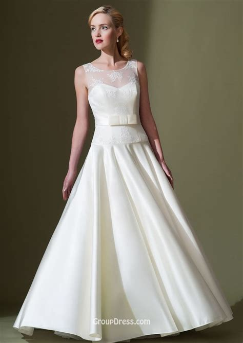 Taffeta Wedding Dress by Illusion Sleeveless Ivory Applique A Line Modest Taffeta