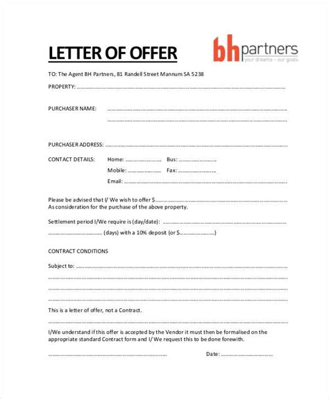 real estate offer letter template house offer letter sle letters font