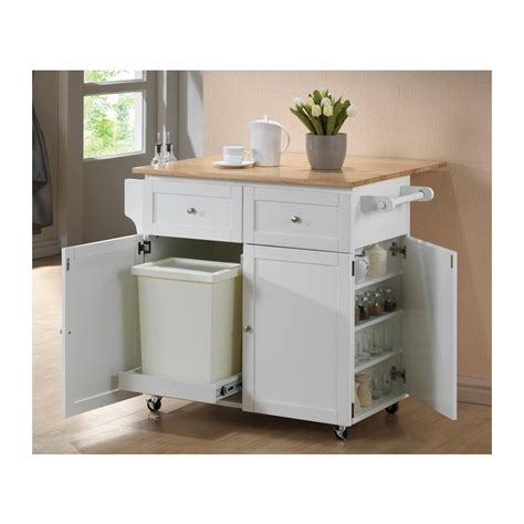 Coaster kitchen cart with trash compartment in white 900558