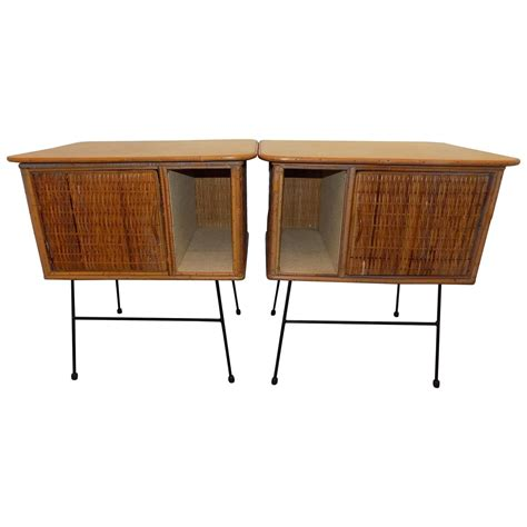 Wicker Nightstands For Sale beautiful pair of italian wicker nightstand circa 1960 for sale at 1stdibs