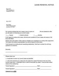 Lease Renewal Letter Exles Lease Renewal Agreement Ez Landlord Forms