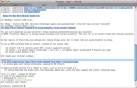 how to upgrade ruby os x how to install xcode homebrew git rvm ruby rails on