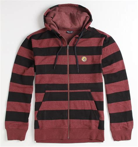 Jaket Volcom Hoodie Merah volcom eds basic stripe zip hoodie fleece sweatshirt jacket new ebay