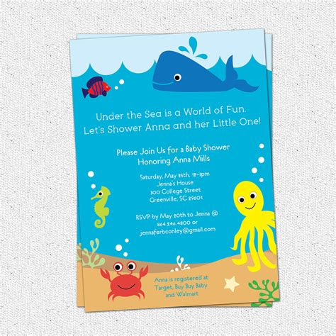 The Sea Baby Shower Invitations by The Sea Baby Shower Invitation Creatures Boy