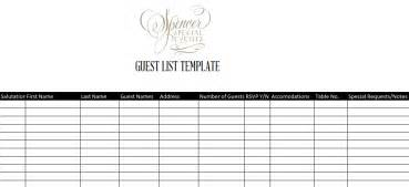 Template For Guest List 7 Guest List Templates Excel Pdf Formats