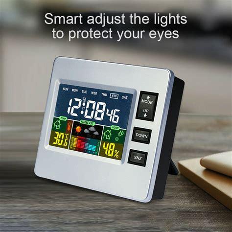 loskii dc 07 digital temperature hygrometer alarm clock weather forecast trends calendar