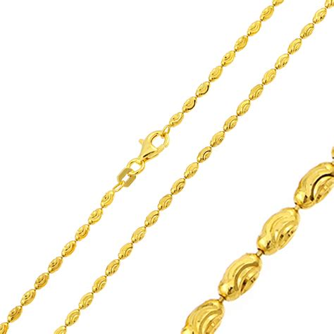 gold plated bead necklace 2 2mm 925 sterling silver bead chain necklace gold