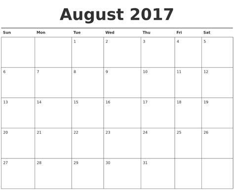 printable calendar aug 2017 august 2017 calendar printable