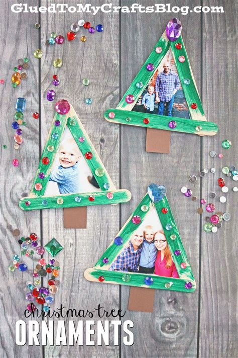 popsicle stick christmas tree frame ornaments glued to