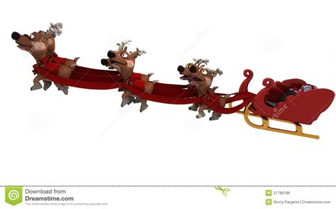 santas sleigh and reindeer stock illustration image of
