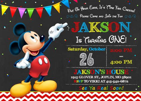 30 mickey mouse invitation template free premium