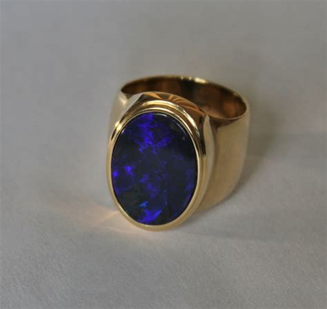 Handmade Opal Rings - handmade black opal mens ring in 14 k solid yellow gold