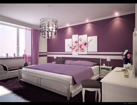 Bedroom images and picture ofpurple wall paint chandelier bench white