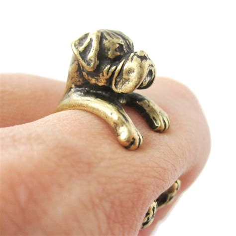 puppy ring 3d boxer puppy animal wrap ring in brass sizes 4 to 8 5 183 dotoly animal jewelry