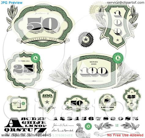 money dollars and design elements vector clipart of green cash money number and letter design