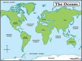 Map Of The World Oceans by Maps World Map With Oceans